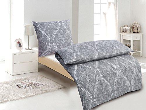 4-Teilig Hochwertige Biber Bettwäsche anthrazit/grau 100% Baumwolle mit Reißverschluss 2x135x200 + 2x80x80 cm