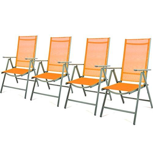 4er Set Klappstuhl Gartenstuhl Campingstuhl Liegestuhl – Sitzmöbel Garten Terrasse Balkon – klappbarer Stuhl aus Aluminium & Kunststoff - orange