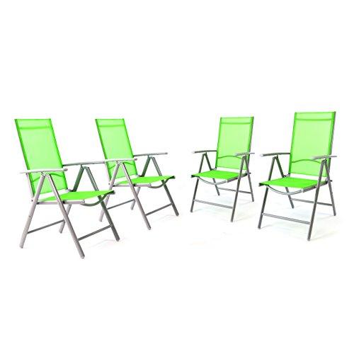 4er Set Klappstuhl in Komfortbreite Gartenstuhl Campingstuhl Liegestuhl – Sitzmöbel Garten Terrasse Balkon – klappbarer Stuhl aus Aluminium & Kunststoff - grün