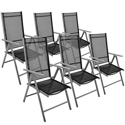 6er Set Klappstuhl Gartenstuhl Campingstuhl Liegestuhl – Sitzmöbel Garten Terrasse Balkon – klappbarer Stuhl aus Aluminium & Kunststoff - schwarz