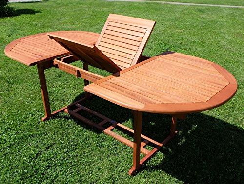 Ausziehtisch 150-200 x 100cm Holztisch Gartentisch Garten Tisch oval geölt Holz Eukalyptus Hartholz wie Teak von AS-S