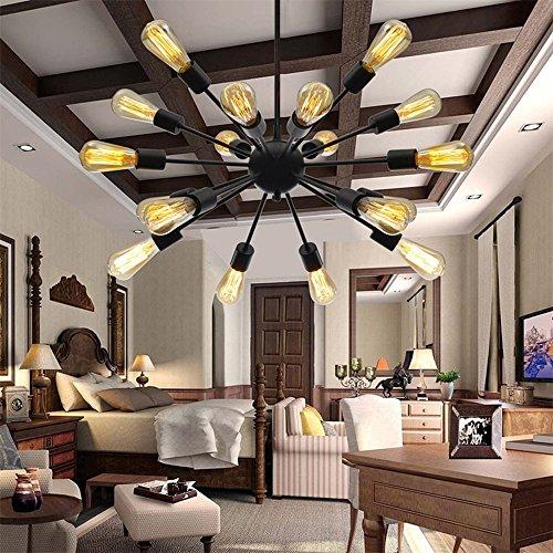 BAYCHEER 18 Lampenfassungen E27 Retrolampe Metalleuchter Industrielampe 64*72*80 cm für Bar Restaurant Esszimmer