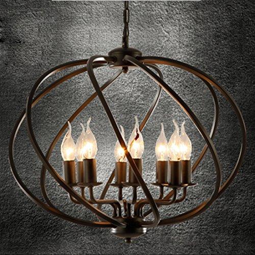 BAYCHEER Globe Hängeleuchte Käfig Cage Industrielampe E12/E14 Pendelleuchte 8 Lampenfassungen Esszimmer Lampe Wohnzimmer Kronleuchter