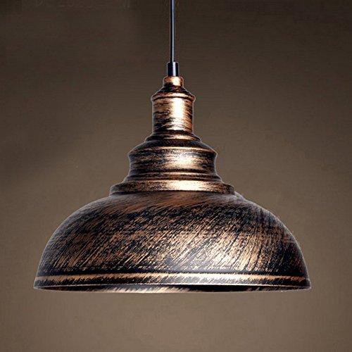BAYCHEER Hängeleuchter Deckenleuchte Industrielampe Vintage Lampenschirm E27 Durchmesser 30CM höhenverstellbar Kupferbraun Braun