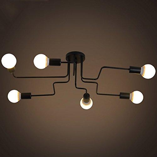 BAYCHEER Industrielampe Deckleuchte Deckenlampe 8 Flammige Lampenfassung Schmiedeeisen Lampe Kronleuchte Pendellampe