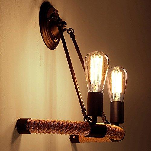 BAYCHEER Loft Vintage-Seil Wandleuchte Antik Retro Pendelleuchte 2 Flammige Disign Lampe