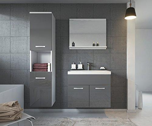 Badezimmer Badmöbel Montreal 60 cm Waschbecken Hochglanz Grau Fronten - Unterschrank Hochschrank Waschtisch Möbel