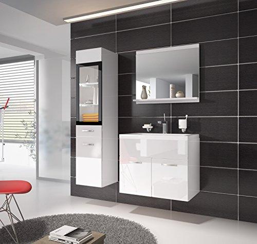 Badezimmer Badmöbel Rio LED 60 cm Waschbecken Hochglanz Weiß Fronten - Unterschrank Hochschrank Waschtisch Möbel