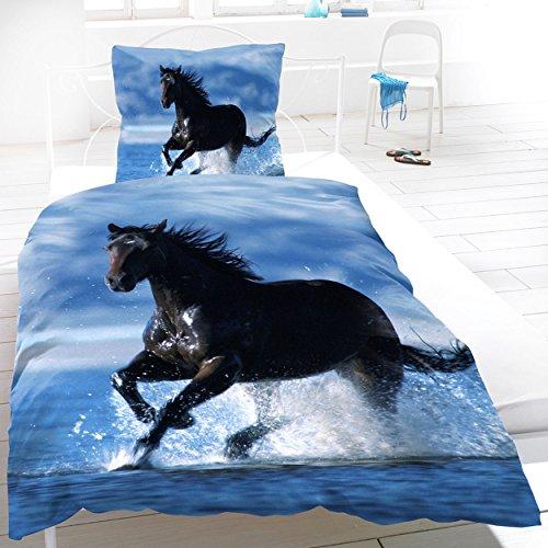 Baumwoll Biber Bettwäsche 135x200cm 2 Teilig Tiere blau