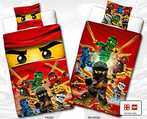 "Biber Kinder Wende-Bettwäsche Lego Ninjago - "" Motiv Champion Fire "" - Neu & Ovp - 135 x 200cm + 80 x 80cm - 100% Baumwolle - Cole - Jay - Kai - Lloyd - Zane - Nya - Misako - Sensai Wu - Flanell - deutsche Standardgröße"