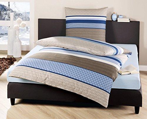 bierbaum fein biber bettw sche 135x200cm 2 tlg eleganza blau grau creme m bel24. Black Bedroom Furniture Sets. Home Design Ideas