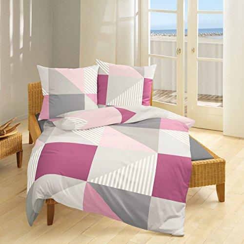 Bierbaum Fein Biber Bettwäsche 135x200cm 2 tlg. Formen Violett Rosé Grau Silber