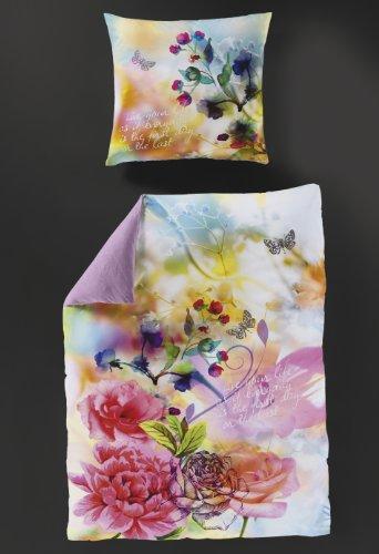 Bierbaum Mako Satin Bettwäsche Rose Pfingstrose 80 x 80 135 x 200 cm
