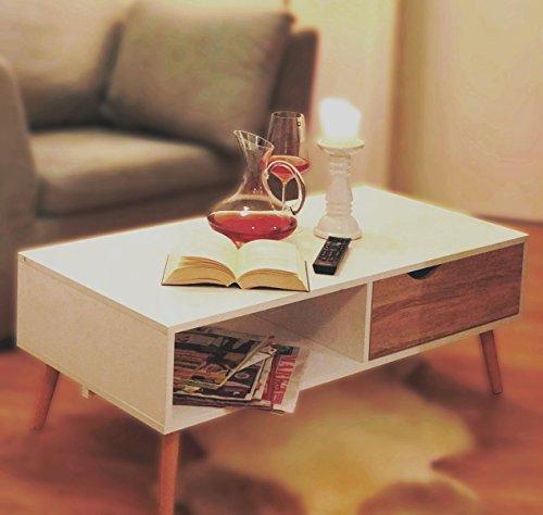 COUCHTISCH Eiche Sägerau-Optik Modern skandinavisch weiß ca. 100 x 50 cm Wohnzimmertisch TV-Tisch Beistell Tisch skandinavisches Design Buche Massivholz Beine ~ds2 169