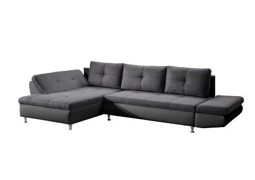 Cavadore 457 Polsterecke Coutre, Longchair-2er Bett, 325 x 89 x 186 cm, Toscana graphite-Bison schwarz