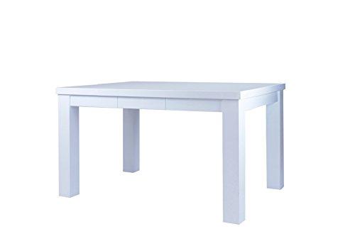 Cavadore 84655 Esstisch Alabama / Moderner Küchentisch in Hochglanz Weiß lackiertem Holz / Resistent gegen Schmutz / 120 x 80 x 76 cm (L x B x H)