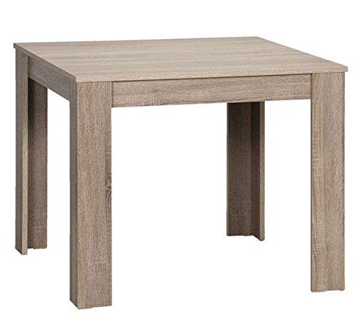 Cavadore Tisch Nick / Moderner Esstisch, gefertigt aus Melamin Eiche sägerau Trüffel / Resistent gegen Schmutz
