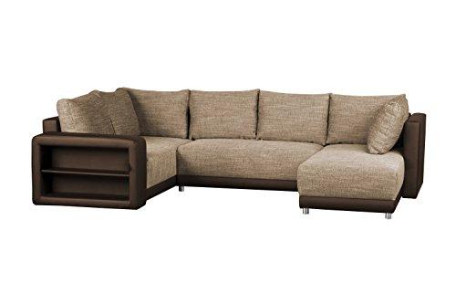 Couchgarnitur Kunstleder / Bettfunktion und Bettkasten / Recamiere rechts o. links montierbar / Strukturstoff und Lederimitat / Regal in Armlehne