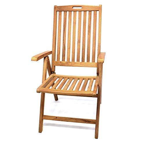 DIVERO GL05005 Gartenstuhl Hochlehner Klappstuhl Teakstuhl Teak Holz Stuhl mit Armlehne 5-fach verstellbar für Terrasse Balkon Wintergarten massiv klappbar