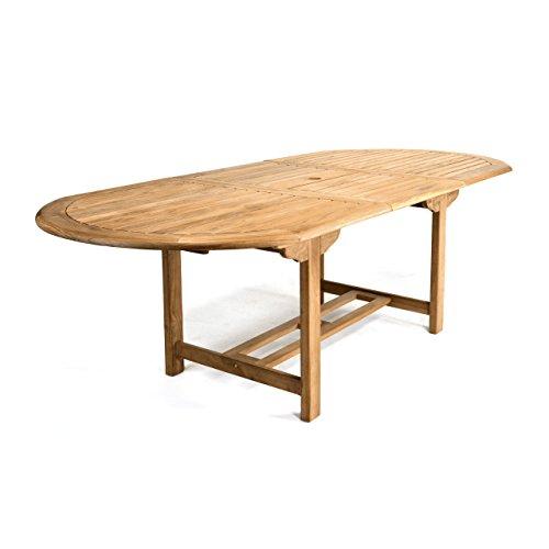 DIVERO GL05525 Großer ovaler ausziehbarer Gartentisch Esstisch Balkontisch Holz Teak Tisch für Terrasse Balkon Wintergarten witterungsbeständig behandelt massiv 170 / 230 cm natur