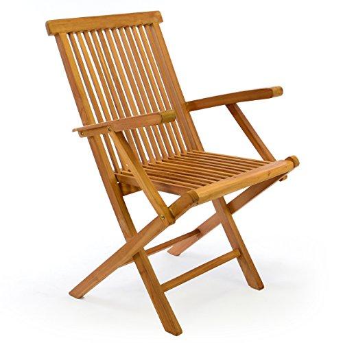 DIVERO Klappstuhl Teakstuhl Gartenstuhl Teak Holz Stuhl mit Armlehne für Terrasse Balkon Wintergarten massiv klappbar