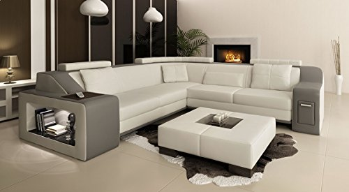 ecksofa xxl polsterecke leder wei grau berlin ii m bel24. Black Bedroom Furniture Sets. Home Design Ideas