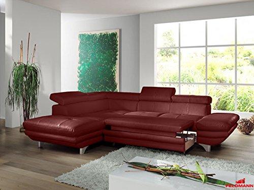 Ecksofa 60566 Polsterecke Echt Leder rot Ausrichtung und Ausstattung wählbar