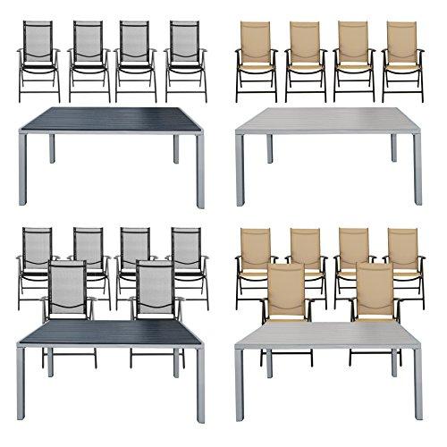 Estexo® Gartentisch-Set 4/6 x Gartenklappstuhl, Alu, WPC, 150x90, Stühle, Garten-Klappstühle, Sitzgruppe