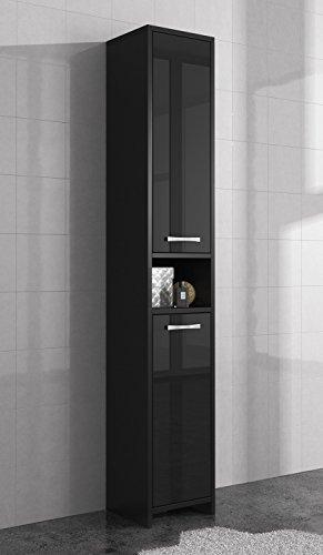Freistehend Badezimmer Schrank hoch Schrank 168 cm Schwarz hochglanz Badmöbel