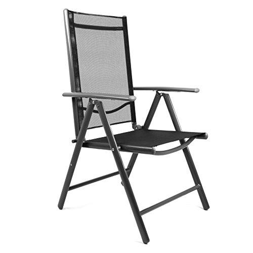 garten klappstuhl schwarz hochlehner campingstuhl gartenstuhl alu stuhl m bel24. Black Bedroom Furniture Sets. Home Design Ideas
