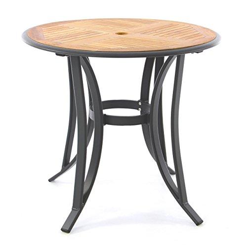 Gartentisch Teak-Tisch - rund – Aluminiumgestell Teak-Holz-Platte – robust – Balkontisch Terrassentisch Ø 80 cm – braun (Tischplatte)