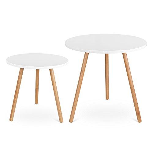 HOMFA 2x Beistelltisch weiß Couchtisch rund Wohnzimmertisch Kaffetisch Satztisch, Groß(50x50x50cm),Klein(40x40x40cm)