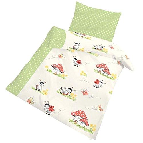 IDO Fein Biber Bettwäsche 2tlg. Beige Grün 17856-410 Kinder Baby Gitterbett Bettwäsche Bettbezug 40 x 60 cm / 100 x 135 cm