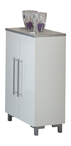 Kesper Badmöbel 2021000823801002 Unterschrank San Remo, 2 Türen, 87,2 x 50 x 31,3 cm, weiß / weiß-hochglanz