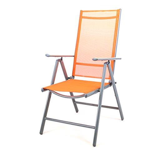 Klappstuhl Klappsessel Gartenstuhl Campingstuhl Liegestuhl – Sitzmöbel Garten Terrasse Balkon – klappbarer Stuhl aus Aluminium & Kunststoff - orange