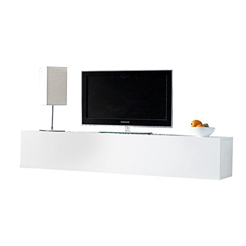Moderner Design CUBE weiß Hochglanz Regal Wandregal TV Board made in Italy Hängeschrank