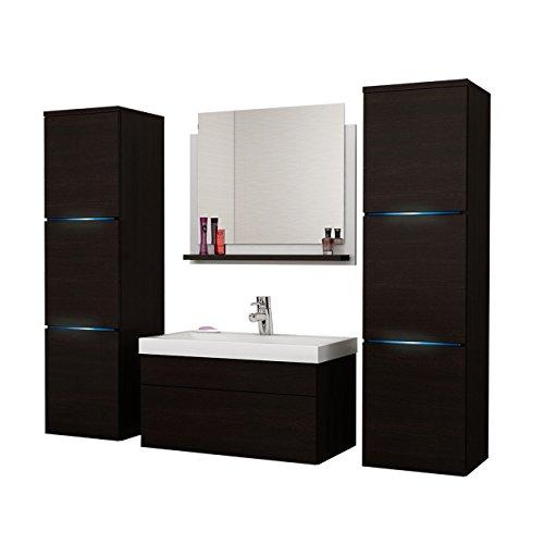 OUTLET !! Badmöbel Set Dunaro, Modernes Badezimmer, Spiegel, Waschbeckenschrank, Hängeschrank, Möbel Komplett
