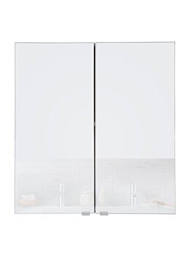 SAM Spiegelschrank Milan, Hochglanz weiß, 2 Türen, pflegeleichtes Badmöbel, Badspiegel-Schrank 64 x 60 x 21 cm