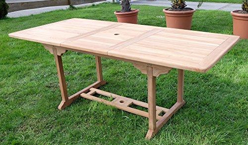 TEAK XXL Ausziehtisch Holztisch Gartentisch Garten Tisch 150 / 200 Länge 90cm Breite, Holz geölt Modell: SABA von AS-S