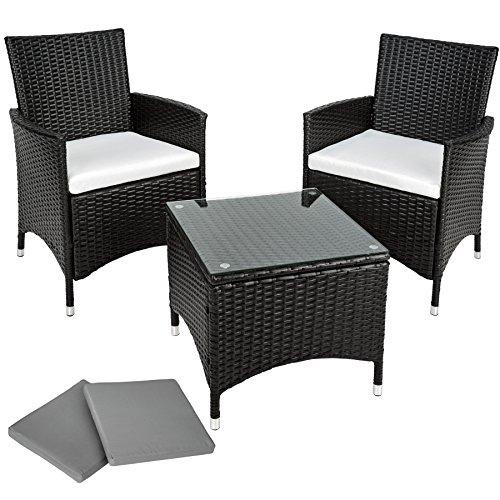 TecTake Aluminium Poly Rattan Gartenmöbel Gartengarnitur Gartenset Sitzgruppe schwarz mit Sitzkissen und 2 Bezüge, Edelstahlschrauben - diverse Farben -