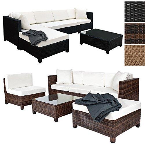 TecTake Hochwertige Aluminium Luxus Lounge mit 2 Bezugssets Poly-Rattan Sitzgruppe Sofa Rattanmöbel Gartenmöbel - diverse Farben -