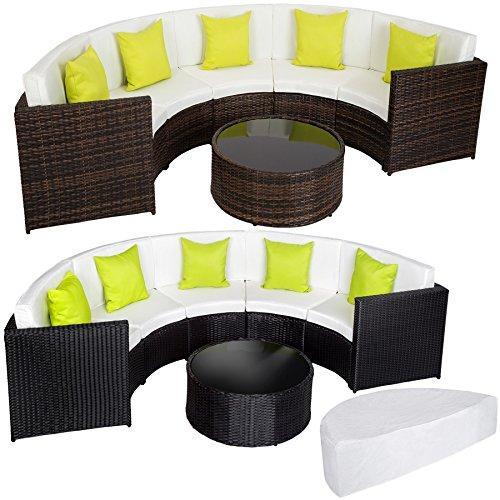 TecTake Hochwertige Aluminium Poly Rattan Lounge Sitzgruppe Sofa halbrund mit Tisch inkl. Schutzhülle und Kissen - diverse Modelle -