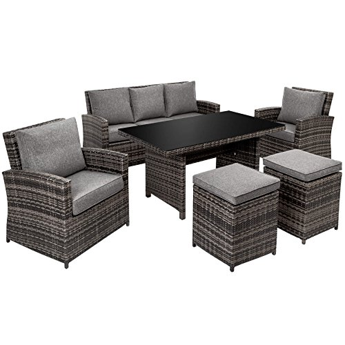 TecTake Hochwertige Luxus Aluminium Poly Rattan Garten Essgruppe rostfrei | 1 Sofa 2 Sessel 2 Hocker + Tisch mit Sicherheitsglasplatte (150x86cm) | grau schwarz