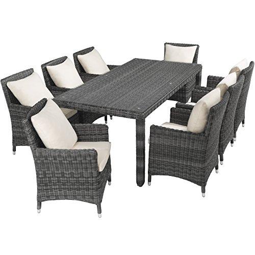 TecTake Hochwertige Luxus Aluminium Poly Rattan Garten Essgruppe rostfrei | 8 Stühle + Tisch mit Glasplatte (211x101cm) | natur grau