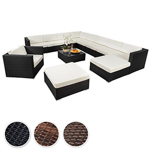 TecTake Hochwertige XXL Aluminium Poly-Rattan Lounge Sitzgruppe Set inkl. Klemmen - diverse Farben -