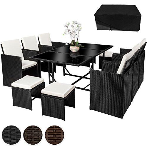 TecTake Poly Rattan 6+4+1 Sitzgruppe 6 Stühle 4 Hocker 1 Tisch + Schutzhülle & Edelstahlschrauben - diverse Farben -