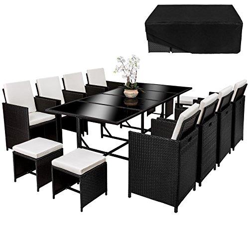 TecTake Poly Rattan 8+4+1 Sitzgruppe | 8 Stühle 4 Hocker 1 Tisch | inkl. Schutzhülle & Edelstahlschrauben | - diverse Farben -