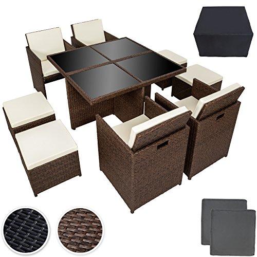 TecTake Poly Rattan Aluminium 4+1+4 Sitzgruppe Cube 4 Stühle 1 Tisch 4 Hocker + Schutzhülle & Edelstahlschrauben - diverse Farben -