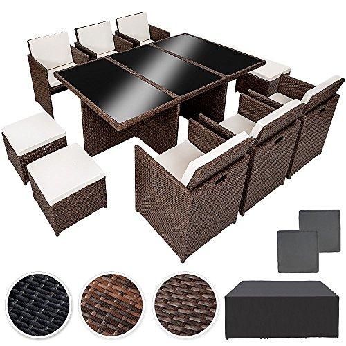 TecTake Poly Rattan Aluminium Gartengarnitur Sitzgruppe 6+1+4, Edelstahlschrauben - diverse Farben -