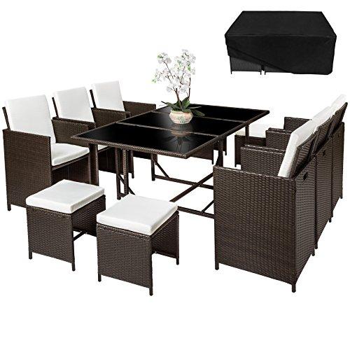 TecTake Poly Rattan Sitzgruppe | 6 Stühle 4 Hocker 1 Tisch + Schutzhülle & Edelstahlschrauben | - diverse Farben -